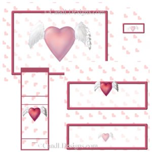 Winged Heart Candy Wrapper/Party Favors Set [dl067]