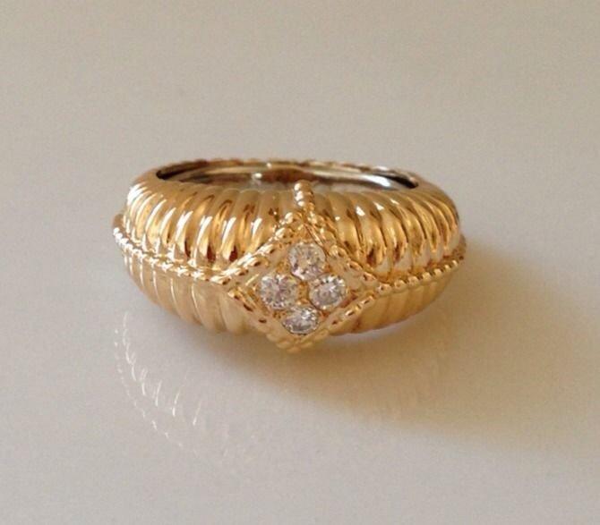 Van Cleef & Arpels 18K Gold Diamond Ring Size 50 Rare
