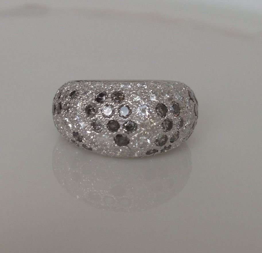 Cartier Pave Diamond Dome Ring Sauvage Collection 18K White Gold
