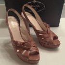 Gorgeous PRADA Beige Leather Bow Platform Heels IT 38 1/2 US 8.5