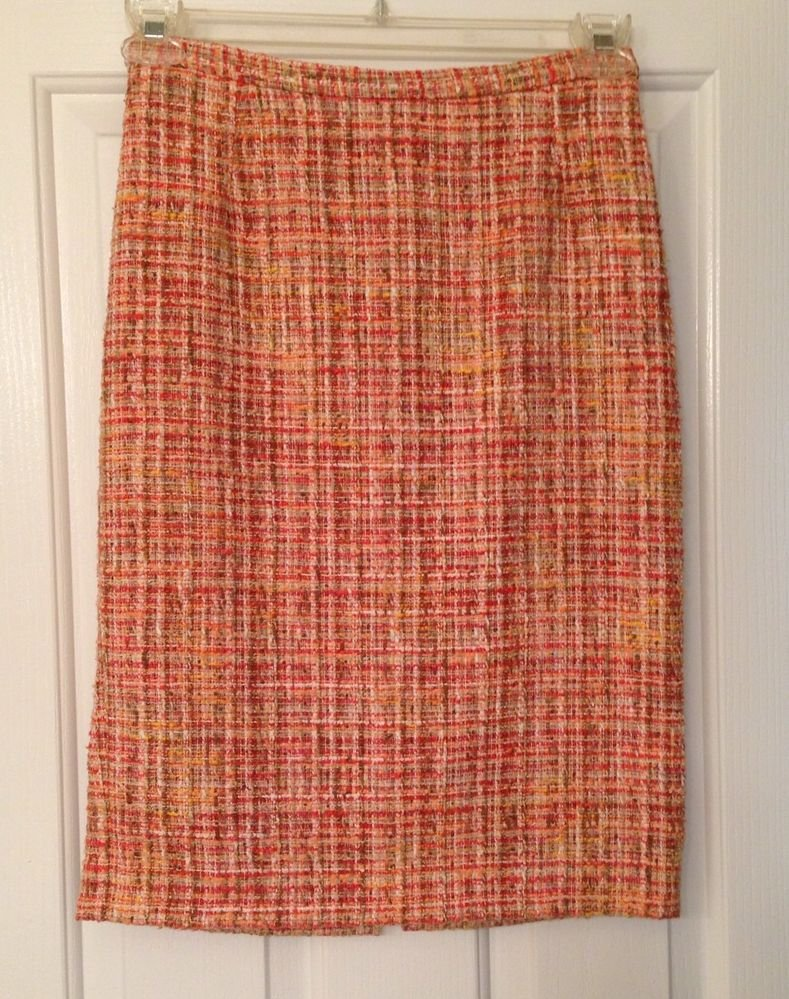 Dolce & Gabbana Orange Tweed Skirt 40