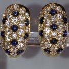 Cartier Diamond & Sapphire 18k Mimi Collection Hoop Earrings Rare