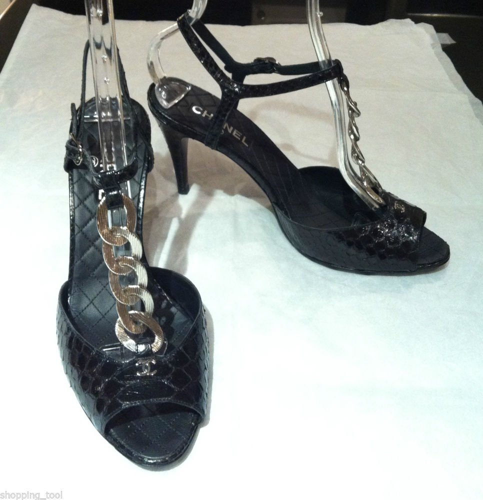 Authentic CHANEL Black Python Chain CC Strappy Sandals Shoes NEW 40