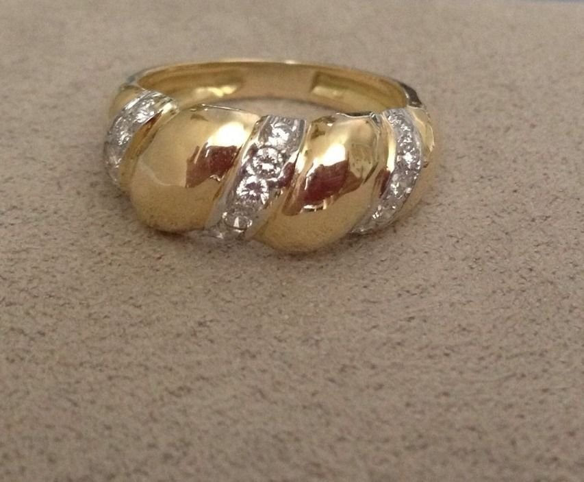 David Webb 18K Yellow Gold & Platinum Diamond Ring Rare