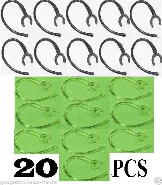 20 pc Earhook Set (10-clear/10-black) for Plantronics M155, M25, M1100 M100 975