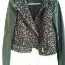 ZARA Black and White Wool Leather Jacket SMALL