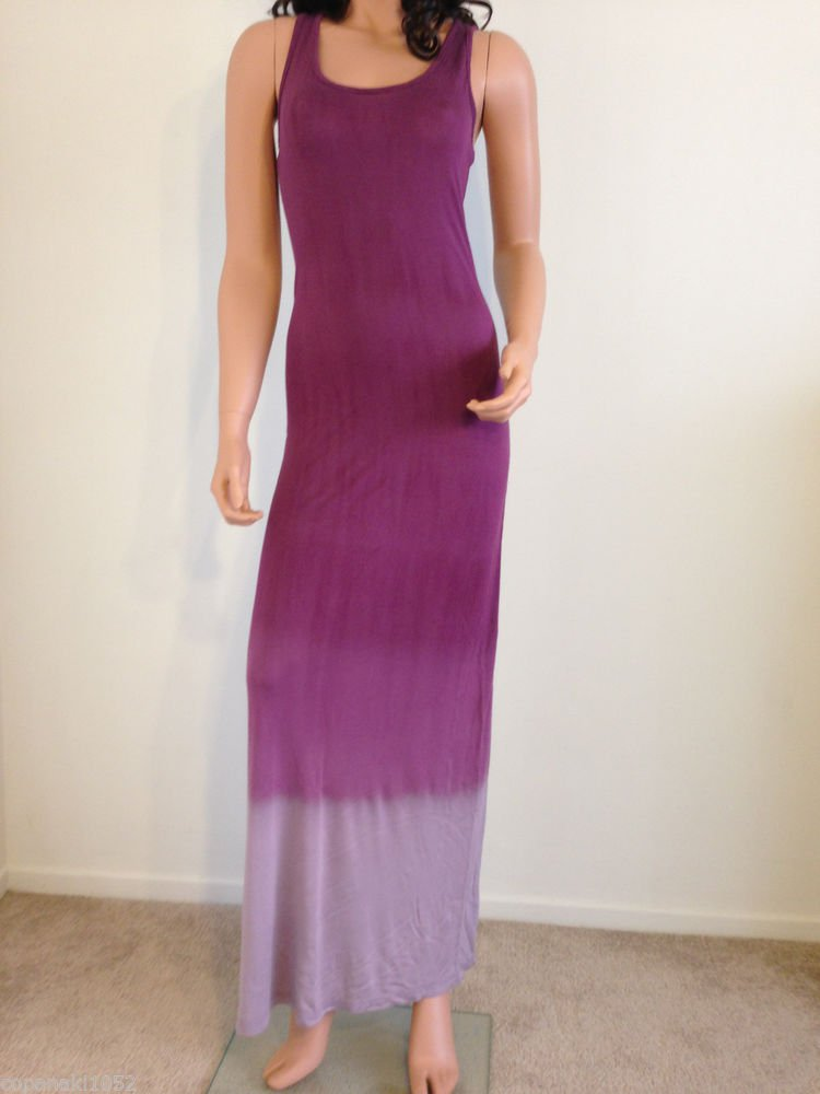 Ombre Maxi Dress Tie Dye Bohemian boho hippie purple gray SMALL