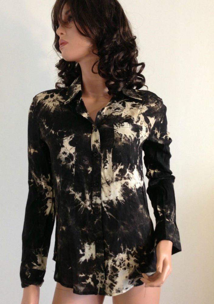 Tie Dye Ombre vtg Beige shirt top blouse retro boho hippie bohemian 70s SMALL