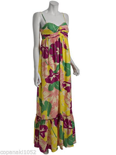 Shoshanna at Shopbop Bluefly floral dress sweetheart maxi long gown Silk 4 SMALL