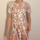 White lace crochet style top tunic blouse MEDIUM