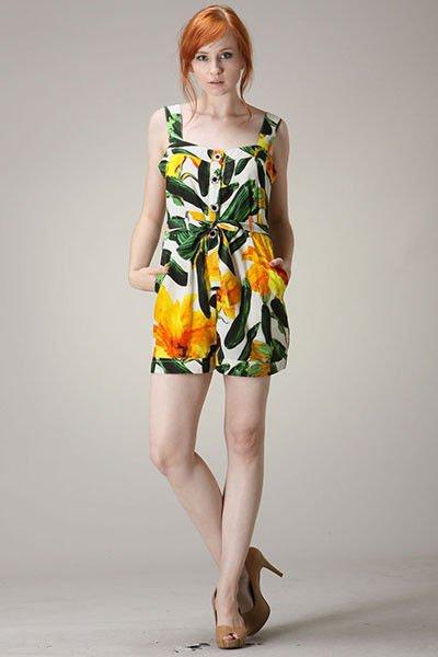 Floral romper jumpsuit green yellow dressy bohemian print hippie retro S M L