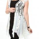Ivory open weave knit top hippie boho hobo crochet SMALL