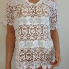 White Crochet Lace Blouse Shirt free spirit Top hippie people Bohemian MEDIUM