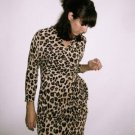 NASTY GAL Leopard Animal Print Wrap Dress brown black ivory cream beige  SMALL
