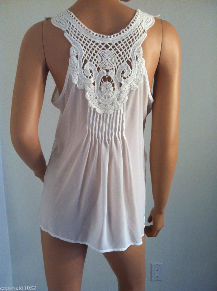 White Crochet back shirt top blouse asos topshop anthropologie racerback MEDIUM