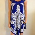 Blue white lace Crochet dress paisley boho hippie bohemian sundress SMALL