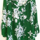 Green white floral summer blouse top charter hippie boho bohemian gypsy SMALL