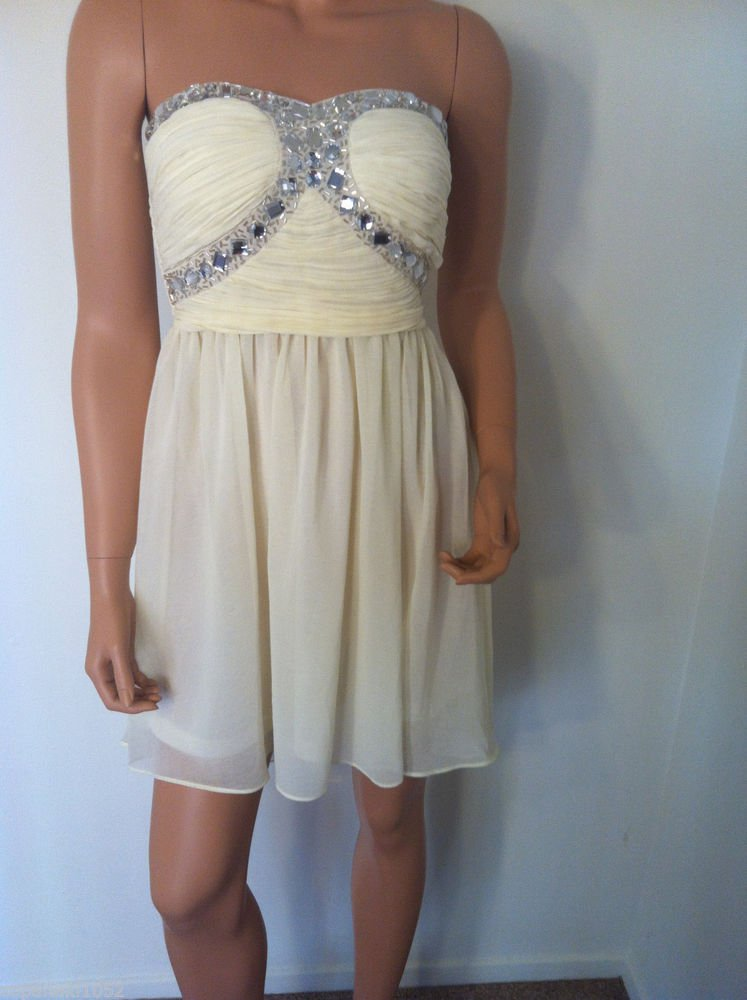 White IVORY DRESS bridesmaid  high low asos strapless homecoming beaded SMALL