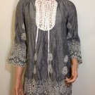 Anthropologie Gray White Crochet Lace Tunic Top Blouse SMALL