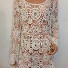 Free People Anthropologie beige Crochet  lace Top Blouse hippie bohemian MEDIUM