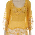 Free People Anthropologie Yellow Crochet  lace Top Blouse hippie boho SMALL