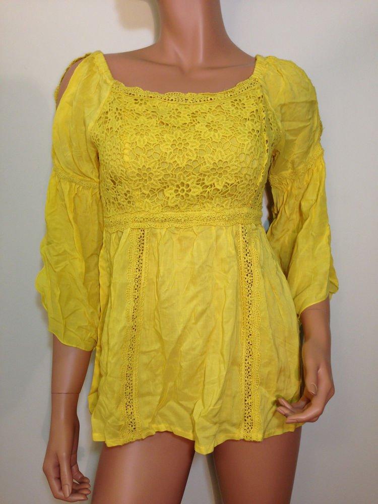 Yellow Crochet  lace Top blouse tunic Boho Hippie XS SMALL