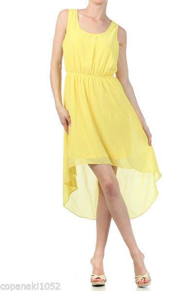 NASTY GAL YELLOW maxi long asos topshop high low maxi asymmetrical dress LARGE