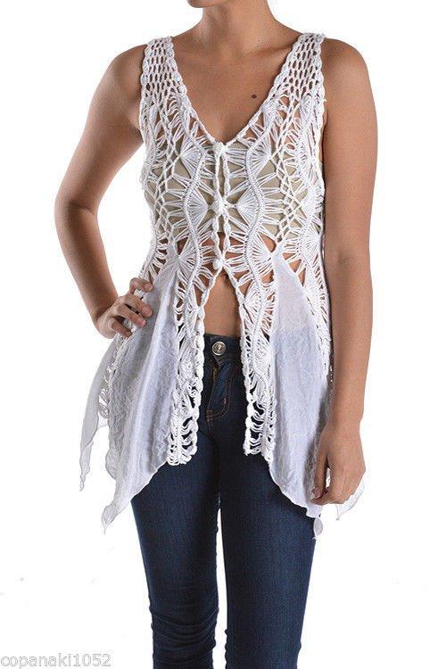 LAST ONE! Pretty White crochet cardigan angel vest hippie top blouse SMALL