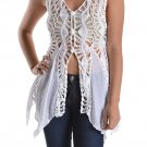 LAST ONE! Pretty White crochet cardigan angel vest hippie top blouse SMALL