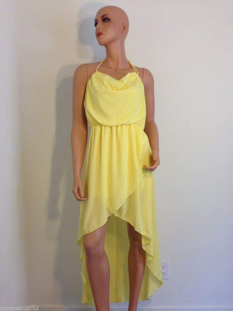 Yellow Dress Asos Topshop Asymmetrical hem high low boho bohemian romantic LARGE