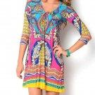 Floral dress festival blue pink yellow hippie boho bohemian Medium Large