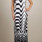 White Black maxi dress Striped long retro SMALL MEDIUM LARGE