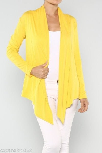 NEW Yellow Cardigan hippie casual career womens top blouse boho bohemian S M L