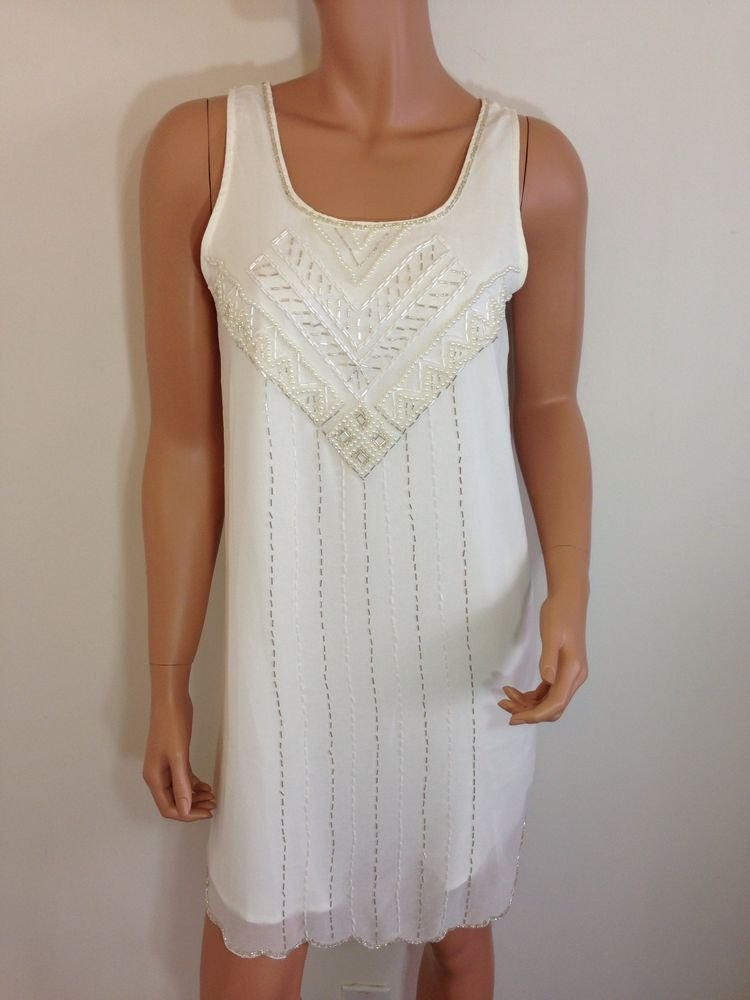 Ivory White Beaded Sequin Gatsby Roaring 1920s Style Dress Flapper Scallop SMALL