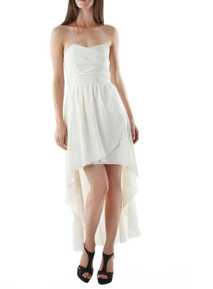 Ivory white dress strapless wedding bridal cocktail mini maxi  XS  EXTRA SMALL