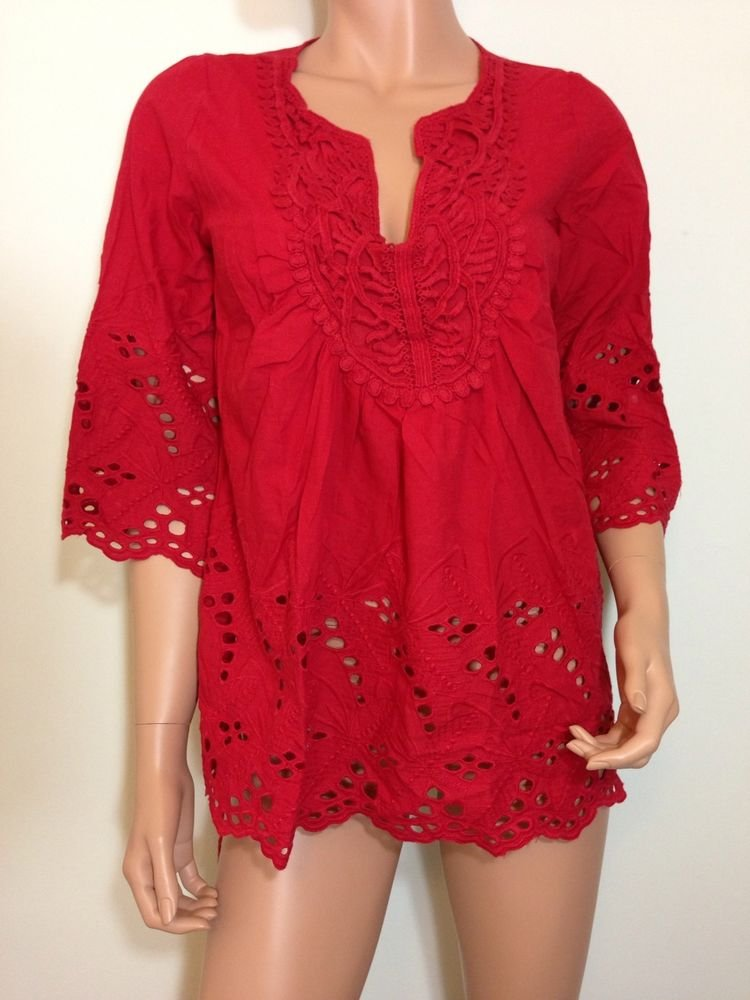 Red Eyelet lace tunic top blouse hippie boho cotton SMALL