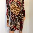 Dress Leopard Animal Print Wrap ivory cream beigeblack red SMALL