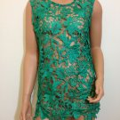 Lace top crochet green blouse gatsby flapper scallop hippie bohemian SMALL