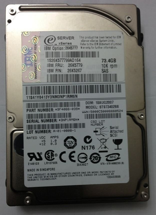"IBM SAS 2.5"" 73 GB,Plug-In Module,10k RPM (26K5267) 26K5777 26K5779 Hard Drive"