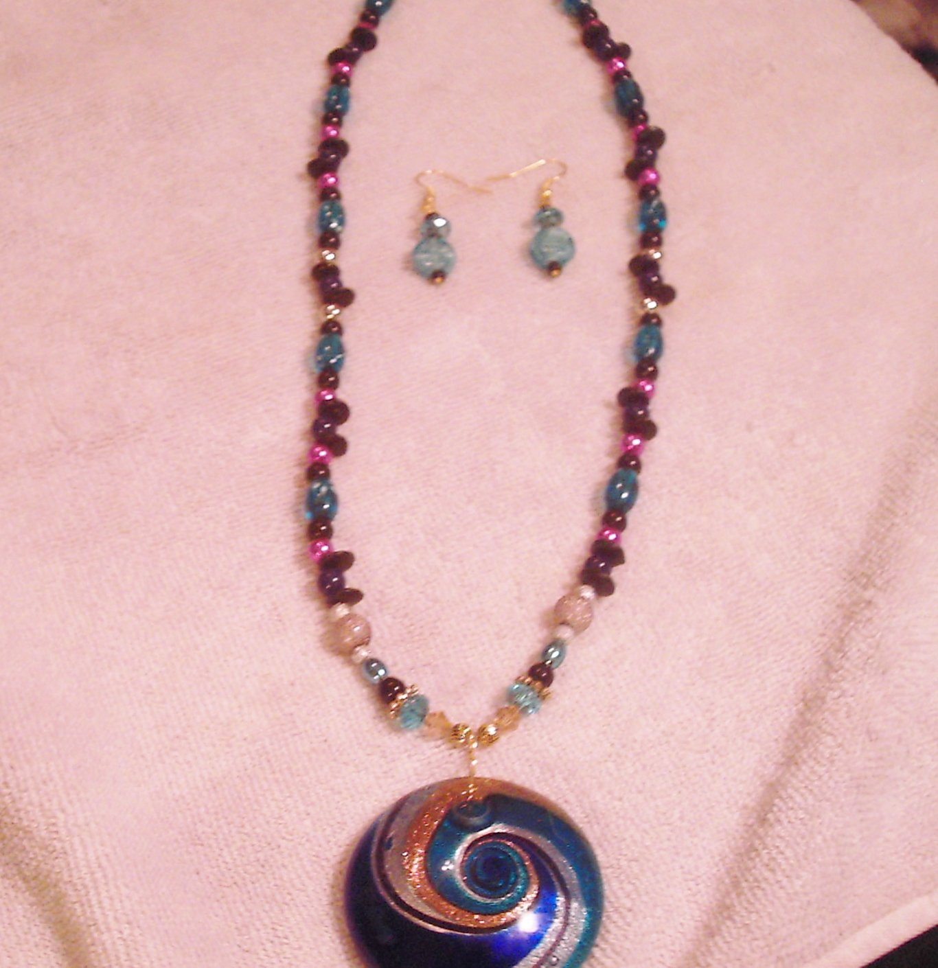 Handmade Swirl Necklace and Earrings Set