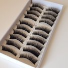 10 PAIRS FALSE EYELASHES EYE MAKE UP BLACK THICK LONG NATURAL SOFT HAND MADE#032