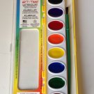 8 BOLD COLORS Watercolor PAINT SET Clear window peggable box and brush included