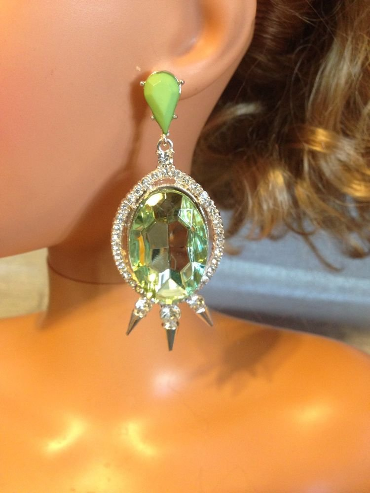 Teal Green Light   Glistening Rhinestone Pave Crystal Spike Earrings