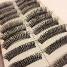 10 Pairs Of Cross Design Black Thick  False Eye Lashes M01