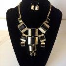 New Arrive Black Enamel panels shape Bib Statement Necklace Earring Set