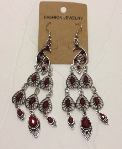 NEW  Elegant Classic BIG Red RHINESTONE Drop/Dangle   Peacock Earring Post back