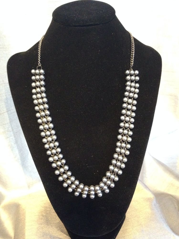 Black Tone Brass  Black Pearl  Statement Necklace