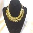 Gypsy Bib Necklace Gold Tone Brass Necklace With Resin Stones