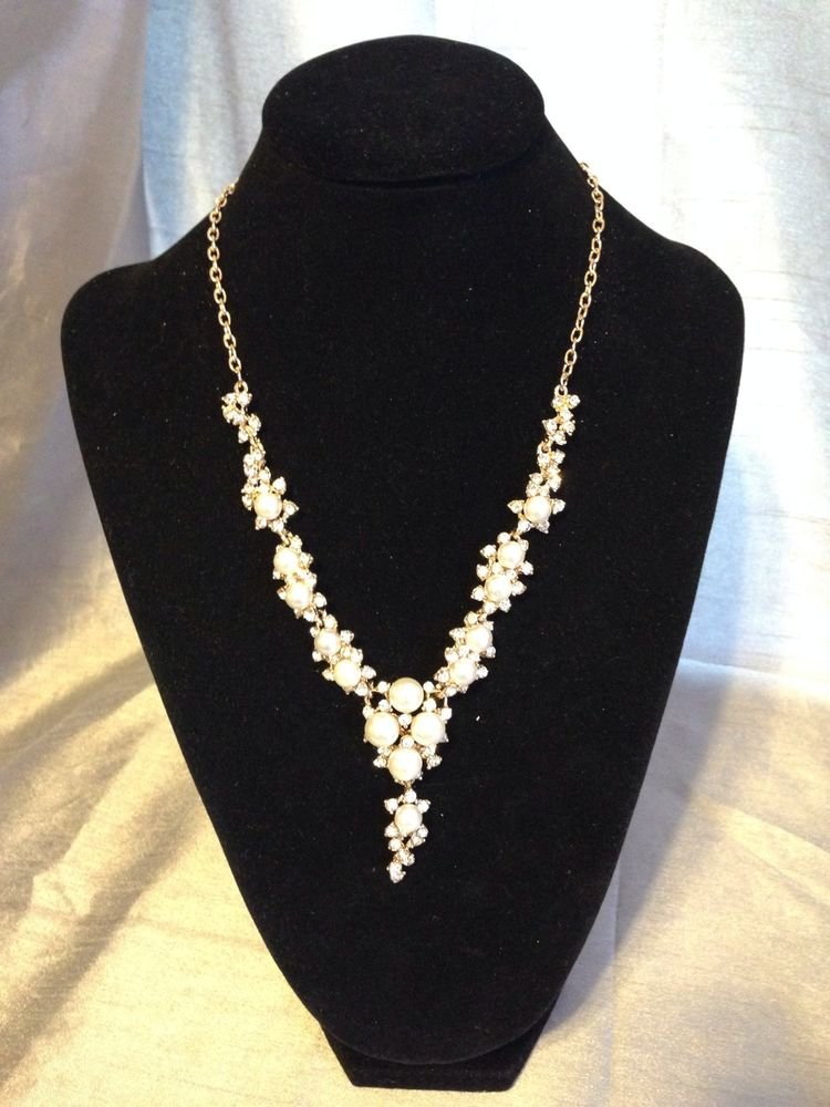Wedding Gold Pearl Crystal Diamonds Necklace
