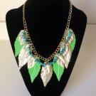 Elegant Simple Stylish Multi Color stone  Metal Necklace